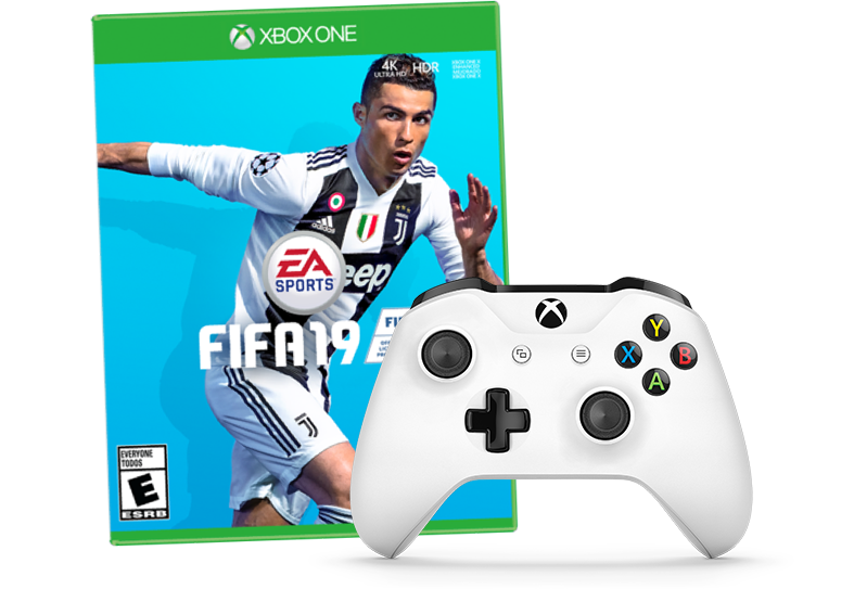 Fifa 19 box and white xbox one pad.