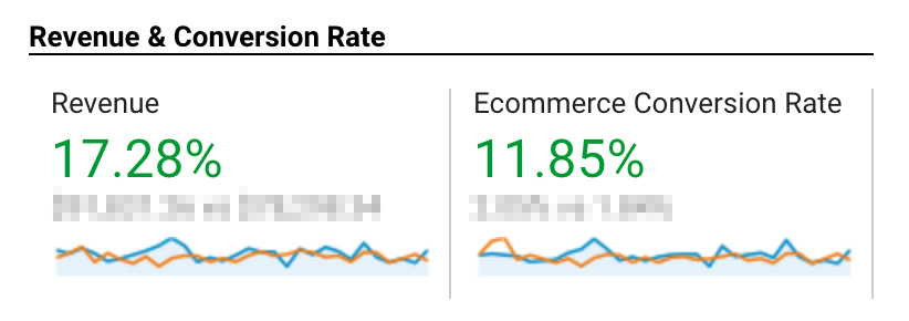 Screenshot from Google Analytics. +17.28% of revenue; +11.85% of ecommerce conversion rate.